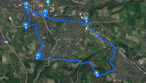 A map of Barnsley Recovery Steps' Walk for Recovery on 17th September
