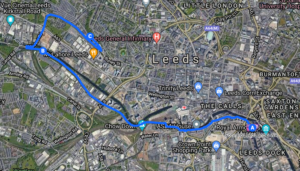 A map of Forward Leeds' recovery walk to recognise National Recovery Month