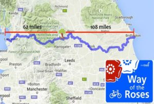 A map showing the Way of the Roses coast-to-coast cycle route, which The Greens at Sheffield Recovery Focused Accommodation will be undertaking for National Recovery Month