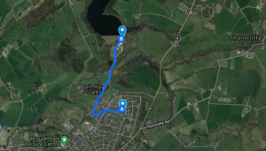 A map plotting the Recovery Walk for Staffordshire Treatment and Recovery Service, starting and ending at Haregate Community Centre in Leek, via Tittesworth Reservoir