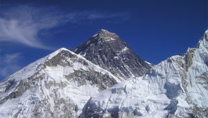 A picture of Mt Everest as a visual representation of the combined distance of total stairs climbed by EDP staff