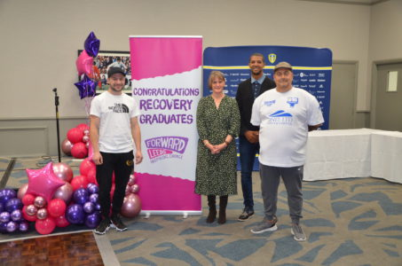 Professional boxer Maxi Hughes and Jermaine Beckford at the Forward Leeds Recovery Graduation